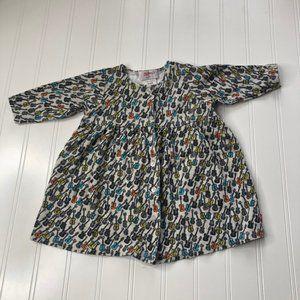 Zutano Guitar Print Dress 100% Cotton Baby 0-6M